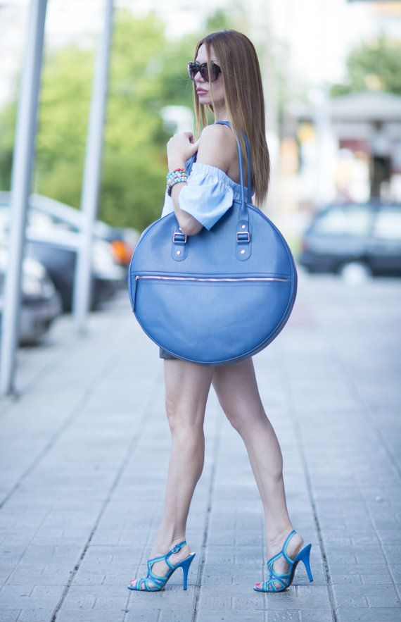 High Quality Blue Tote Circle Large Bag / Blue by EUGfashion