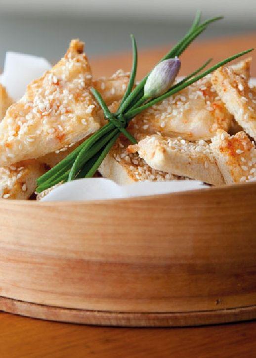Low FODMAP Recipe and Gluten Free Recipe - Sesame prawn toasts  http://www.ibs-health.com/low_fodmap_sesame_seed_toast.html