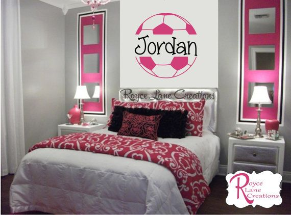 soccer ball soccer wall decal b4 for girls room teen girl bedroom teen room decor soccer ball with personalized name for girls bedroom - Teenage Girl Bedroom Wall Designs