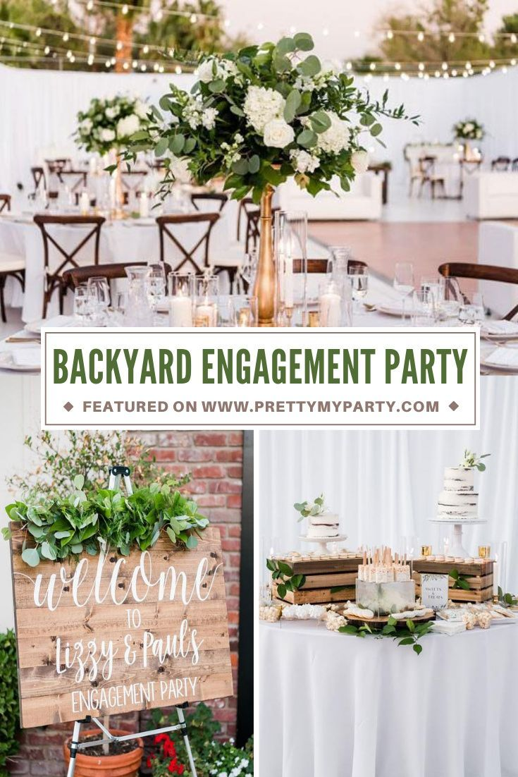Elegant White Backyard Engagement Party Pretty My Party Party Ideas In 2020 Backyard Engagement Parties Engagement Party Summer Engagement Party