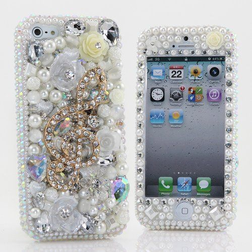 BlingAngels® 3D Luxury Bling iphone 5C Case Cover Faceplate Swarovski Crystals Diamond Sparkle bedazzled jeweled Design Front & Back Snap-on Hard Case + FREE Premium Quality Stylus and Water-Resistant Bag (100% Handcrafted by BlingAngels) (White Pearls Background with Music Note) This Luxury case is 100% custom handcrafted by BlingAngels. Please check out our store for other luxury designs. The C... #BlingAngels #Wireless