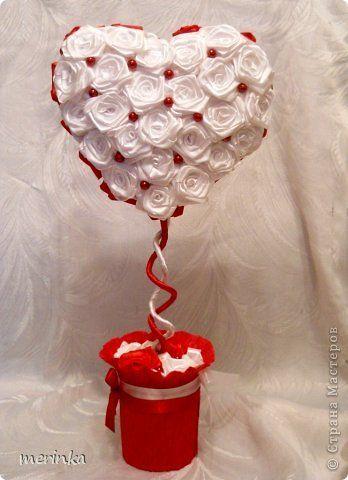 Бонсай, топиарий, Мастер-класс Моделирование: Сердце, сотканное из роз + мини МК Бусинки, Ленты Валентинов день, День рождения, Свадьба. Фото 2