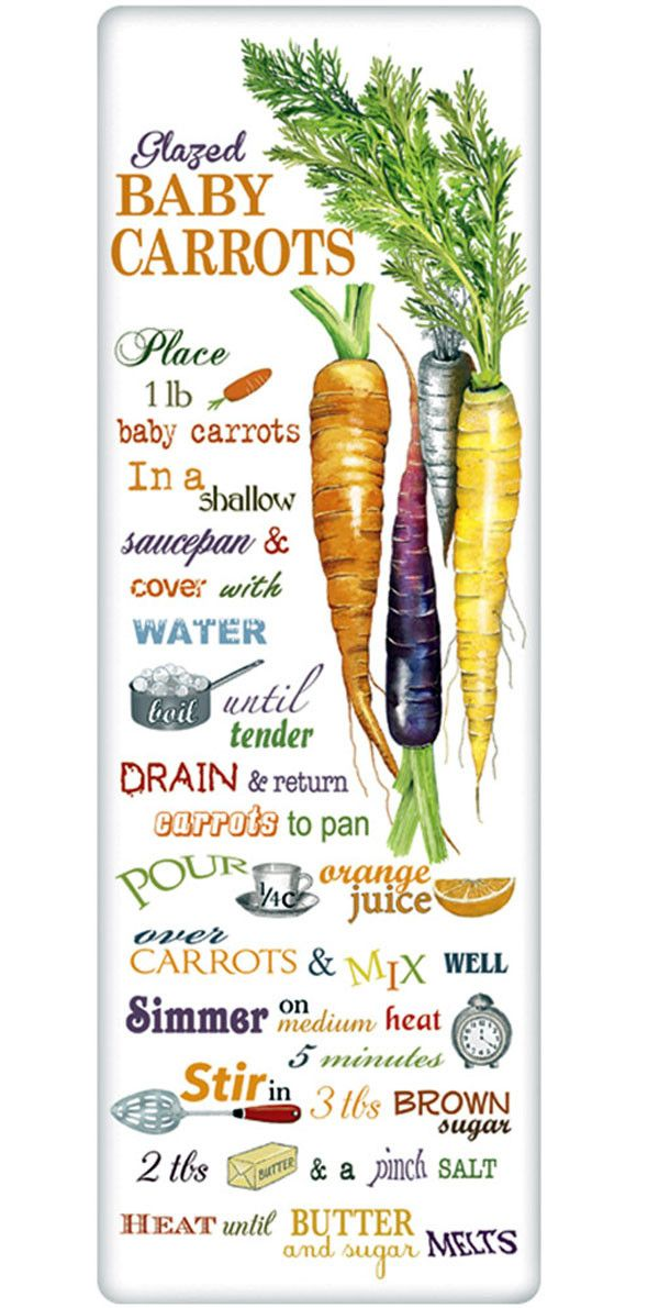 We treasure the recipe dish towel! Discover flour sack towels for every cook's decor and holidays. This one features an amazing recipe for perfect glazed carrots.