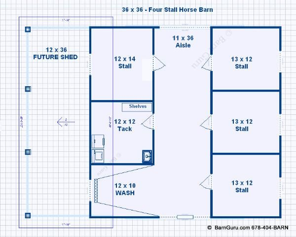 Barn plans stall horse barn with lean too design floor for Horse barn layouts floor plans