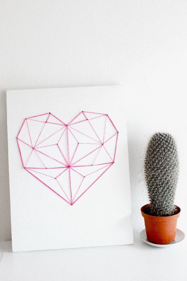 DIY: geometric heart decor