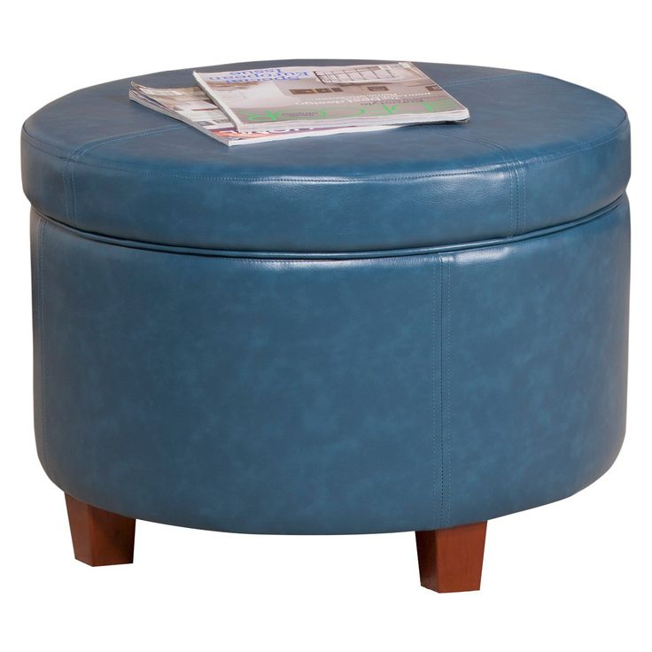 Homepop Large Faux Leather Round Storage Ottoman : Target