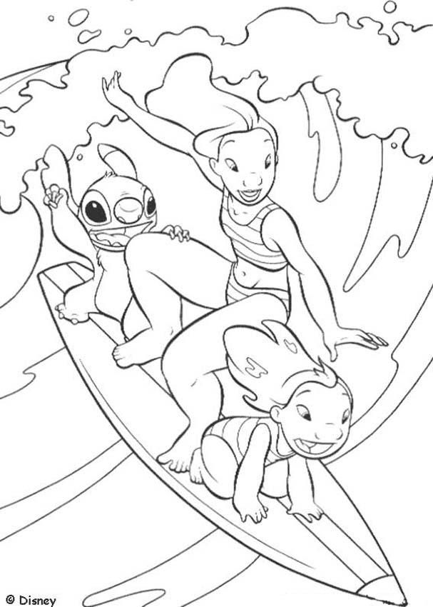Lilo and Stitch surfing coloring page