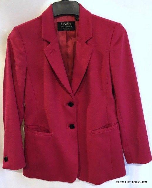 DANA BUCHMAN Petites CASHMERE Wool RED PINK Lined Blazer Career women's 4P #DanaBuchman #Blazer #Business