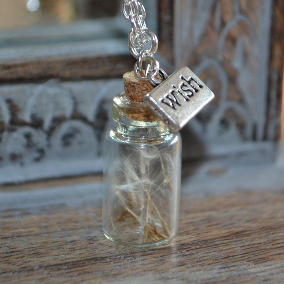 Wishes: Real Dandelion Seed Mini bottle Necklace - Childhood Memories