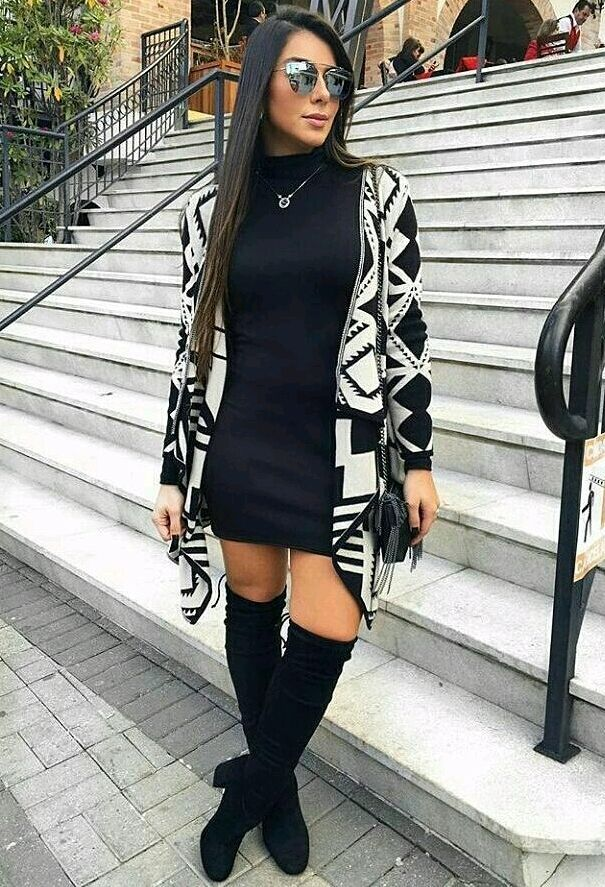 Black and white geometric pattern sweater, little black dress and knee-high boots. Beauty on High Heels #Fashion