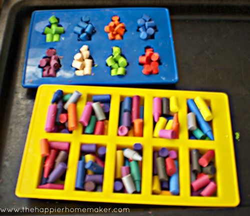 DIY Lego man and Lego Brick Crayons-perfect for Lego Birthday Parties via The Happier Homemaker