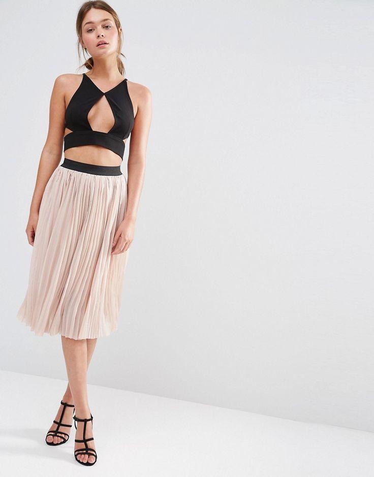 Image 1 ofNew Look Pleated Tulle Midi Skirt