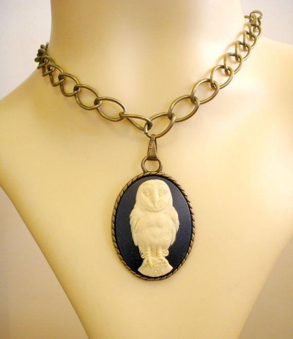 Blue Cream Owl Cameo Bronze Pendant Bronze Big by TattooedRoZe