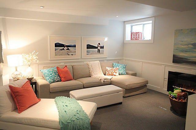 Basement: Living Rooms, Small Basements, Colors, Cozy Basement, Basements Families Rooms, Basements Ideas, Beaches Houses, Basement Ideas, Basement Family Rooms