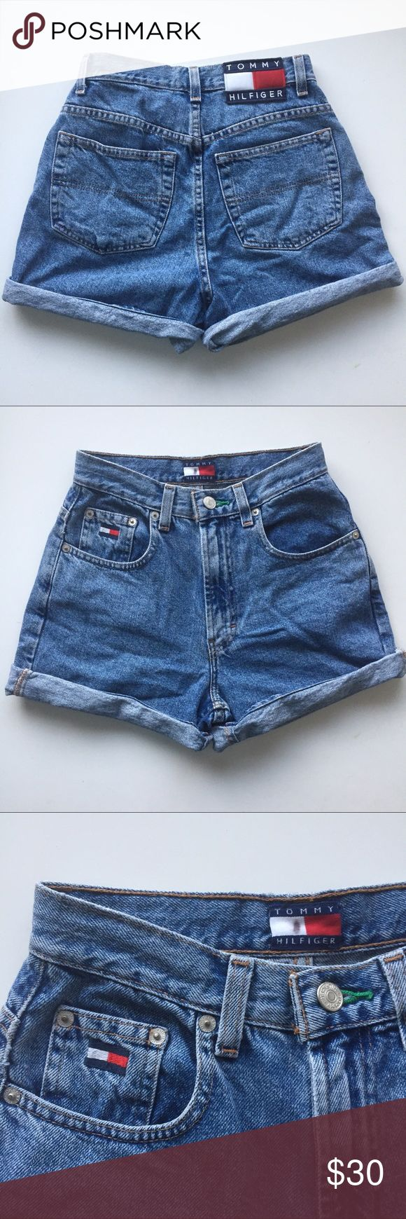 Vintage Tommy Hilfiger Shorts Super cute vintage Tommy Hilfiger denim high waist shorts are pre-loved but in great condition! The hems aren't cuffed but I liked to roll them up so they can be a bit shorter and looked cuffed! Perfect this summer paired with a crop top or a breezy blouse! Great for festivals or the beach! Size 2. Can provide measurements! Tommy Hilfiger Shorts Jean Shorts