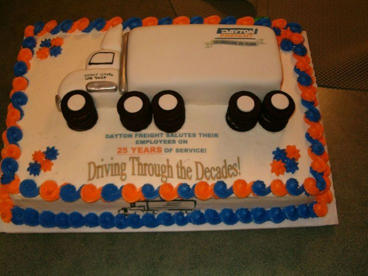 Semi-Truck Cake 12x18 sheet cake frosted in buttercream. Semi is loaf pan for trailer and carved truck, covered in MMF. Edible images and...