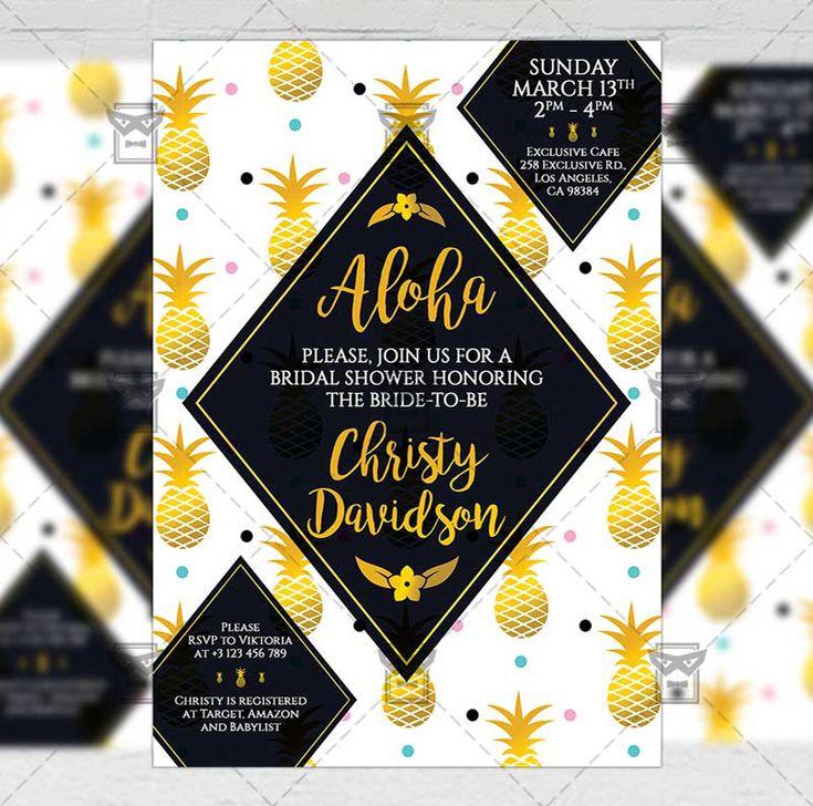 Bridal Shower - Invitation A5 Card Template  #exclusiveflyer #psd #freeflyer #freepsd #bridalshower #weddingpreparty #bridalparty #bachelorettenight #bacheloretteparty #bride #brida-to-be