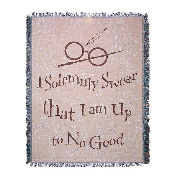 Harry Potter Solemnly Swear Tapestry Throw Blanket ($37) ❤ liked on Polyvore featuring home, bed & bath, bedding, blankets, polyester throw, tapestry throw blanket, polyester blanket, tapestry throw and polyester bedding