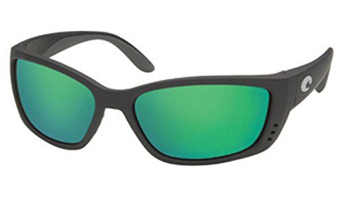 Costa Del Mar Sunglasses - Fisch- Glass / Frame: Black Lens: Polarized Green Mirror Wave 580 Glass. Style: Wrap. Frame: Plastic. Lens: Polarized Glass. Size: 63.5 mm x 18 mm x 130 mm. Gender: Male.