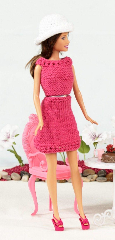 Rosa strikkekjole til Barbie