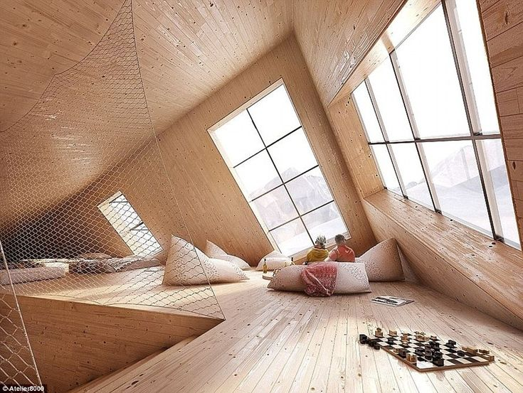 The top floor of the hut offers extra accommodation spaces, as well as a meditation room o...