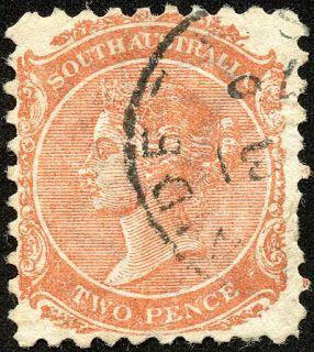 "South Australia 1868 Scott 58 2d orange red, Wmk 72, Perf  10, ""Victoria"""