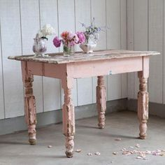 Shabby Chic Interiors - painted and distressed table - Erika Interior Design and Decoration