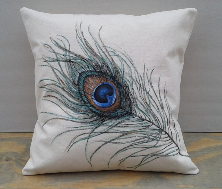 """Hand Painted Acrylic 18"""" x 18"""" Peacock Feather Pillow Cover, Ready to Ship! by marcatables on Etsy"""