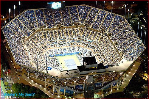 Arthur Ashe Stadium tennis under the lights baby.  Loved those free US Open tickets we'd get from work back in the day.