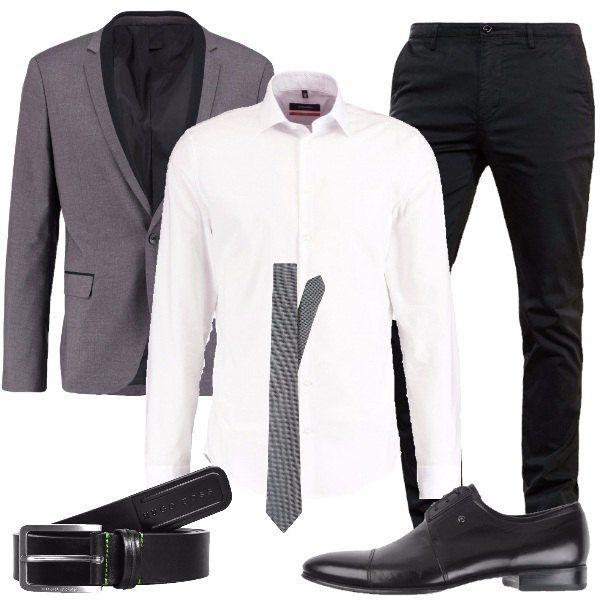 6c4eb3a4d4 Look elegante, composto da giacca grigia abbinata ad una camicia ...