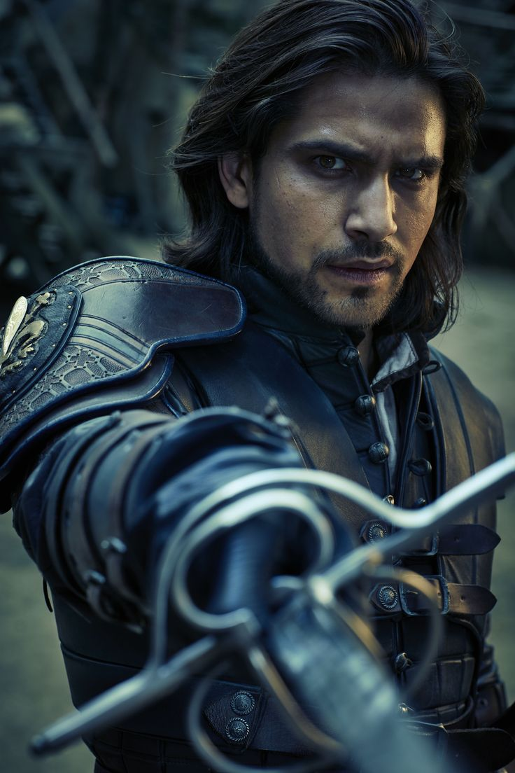 D'Artagnan in The Musketeers. I love this pose; his eyes are full of brooding while his sword arm is poised in patient readiness.