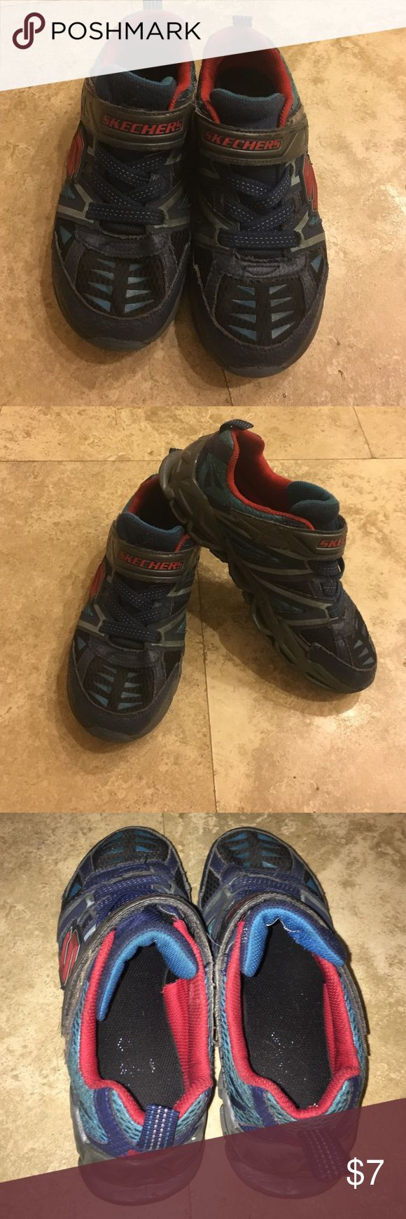 Sketchers Boy's Velcro Sneakers Worn with love and now looking for a new home. No tie up laces just Velcro. Frayed on seems and a little scuffed up but otherwise in good condition. Skechers Shoes Sneakers