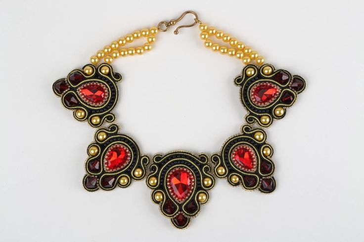 Handmade Beautiful Festive Soutache Necklace with Beads and Rhinestones | eBay