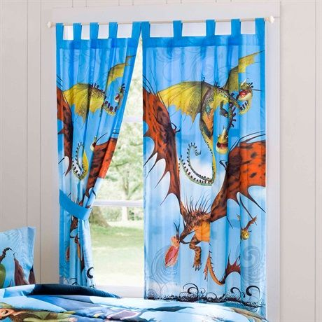 This window panel contains the main characters from the movie How To Train Your Dragon. The set includes two (2) window panels. This window treatment with How To Train Your Dragon theme is adorable and will completely transform the decor of your child's room.