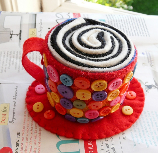 ButtonArtMuseum.com - maybe some coffee? :)) felt coffee cup pincushion - measures approx 6cm