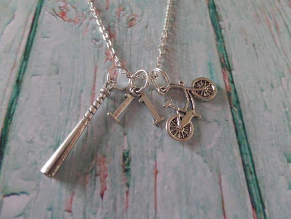A gift for a Stranger Things fan! Stranger necklace, stranger things gift, bike necklace, eleven necklace, fandom gift, baseball bat gift, stranger fan gift, sandykissesuk #eleven #11 #strangerthings #ad