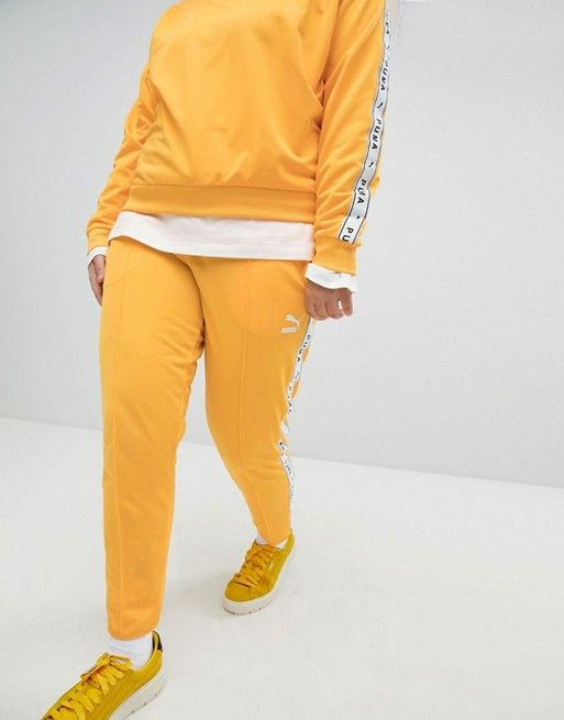 a4a347c54c Puma Exclusive To ASOS Plus Taped Side Stripe Track Pants In Yellow ...
