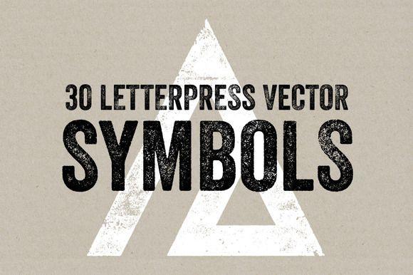 30 Letterpress Vector Symbols by Offset on @creativemarket