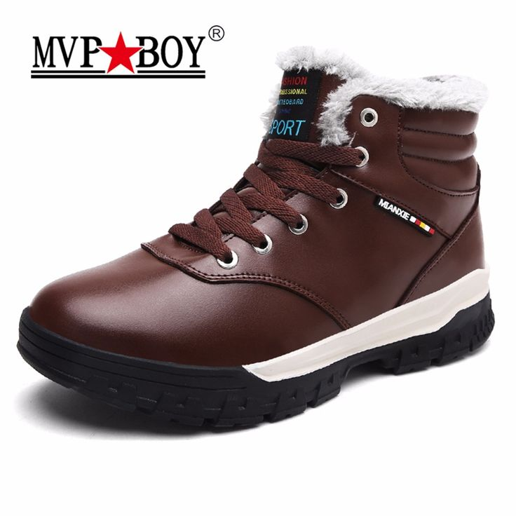 MVP BOY High Quality Winter Men Snow Boots Waterproof Lace-Up Men Leather Shoes,Super Comfort Keep Warm Ankle Rain Boots for Men