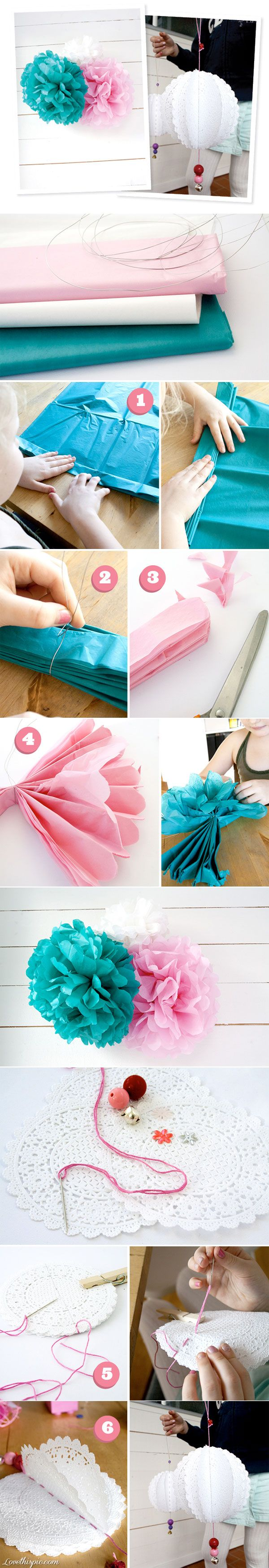 DIY pom poms flowers -might be cute above our tea party table in brighter colors