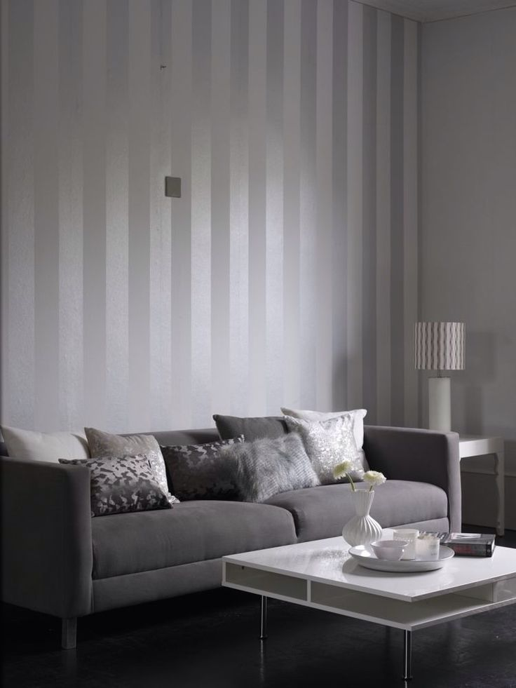 Colour Designs For Living Room: Metallic Grey And White Stripe Wallpaper Design From The