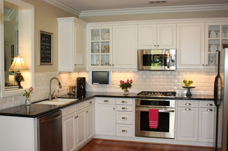 White Cabinet feat Black Countertop Design for Small L Shaped Kitchen
