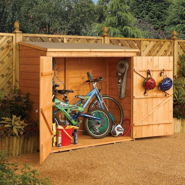 Rowlinson Wallstore Shed Storing Bicycles And Lawn Supplies Outdoor Storage Sheds Wood Storage Sheds Garden Storage