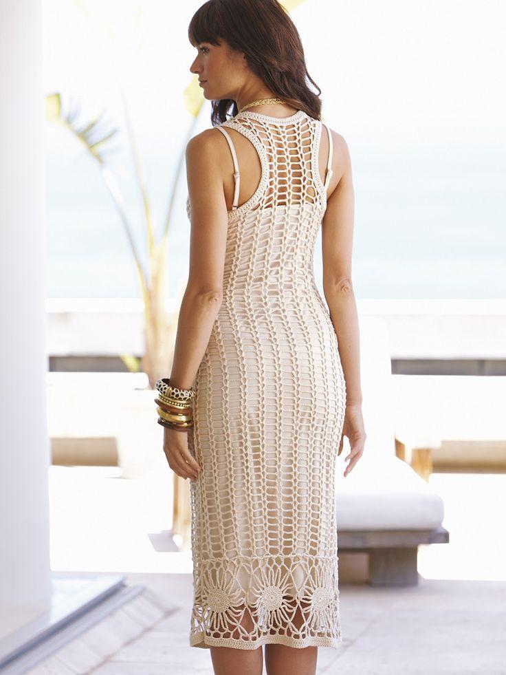 Beautiful crochet dress. Would make a cute tank top as well. Crochetemoda: Julho 2012