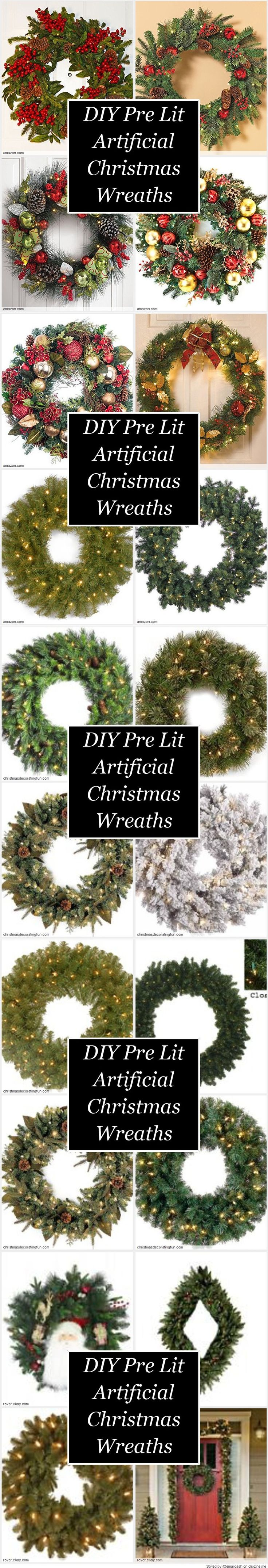 DIY Pre Lit Artificial Christmas Wreaths Ideas - Looking for DIY Pre Lit Artificial Christmas Wreaths Ideas? It's usually not that hard but it usually helps if you buy an undecorated Christmas wreath and start from there. Look at some of the wreaths and ideas that we found.