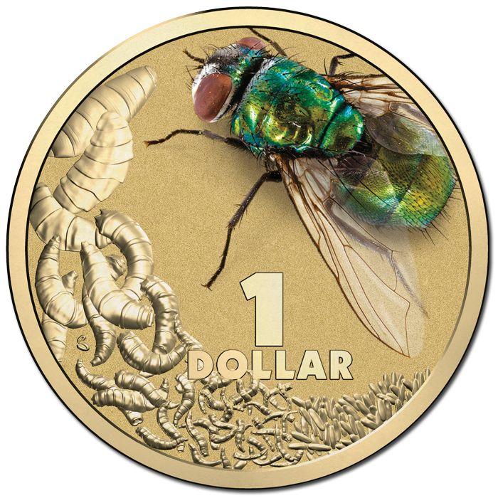 2014 $1 Bright Bugs Blowfly Coloured Al-Br Unc