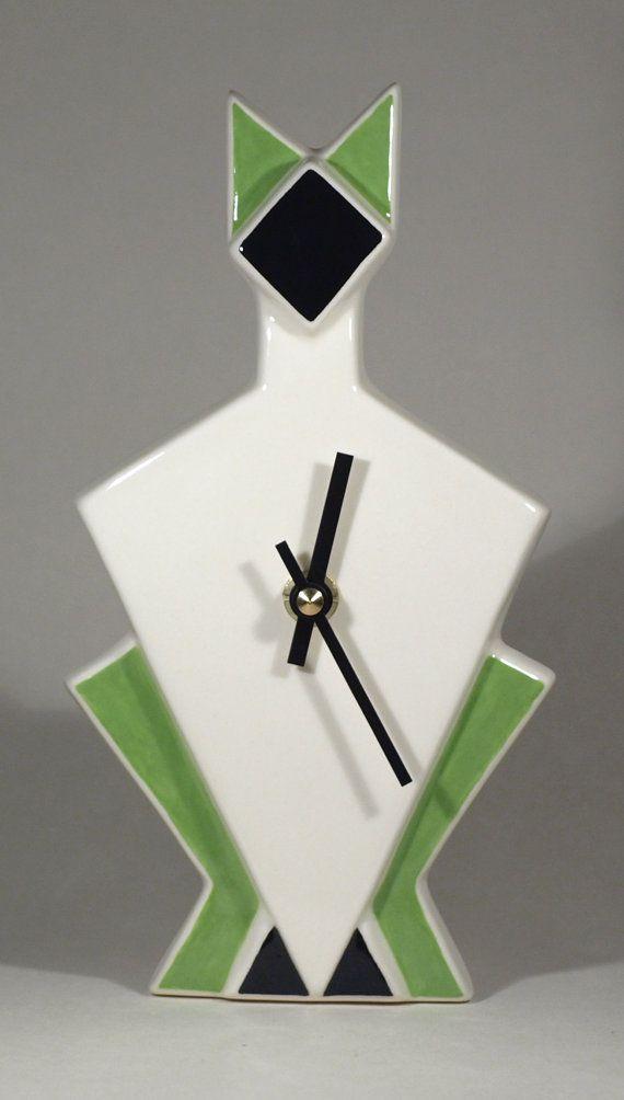 Echo of Deco Art Deco Inspired Cat Wall Clock by echoofdeco