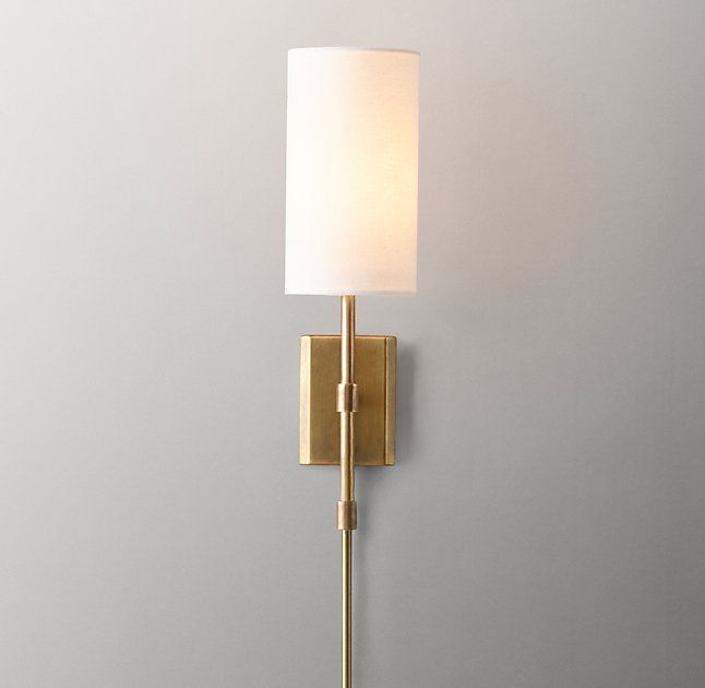 Clementine sconce with shade antiqued brass