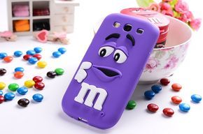 3D Cute M&M's chocolate candy cartoon Silicone Back Cover Shell For Samsung Galaxy Alpha G850 G850F G8508S Phone Cases Fundas
