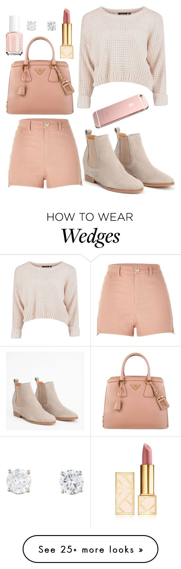 """Rose gold"" by janeanderson6203 on Polyvore featuring River Island, Prada, Tory Burch and Essie"